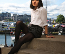 Adrienne Y. - Diy Leather Look Shorts, Gap Tights, Private School Uniform Shirt, Vintage Boots, Kodiak Watch - The Harbor