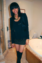 Autumn Polk - Black Blazer, Off The Shoulder Top, H&M Mini Skirt, H&M Overthekneesocks - I dont usually smile.