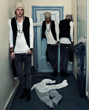Fredric Johansson - Virginblak Vest, Virginblak Rock Chic Necklace, Virginblak Loose Shirring Tee, Virginblak Fox Tail, Virginblak Slim Skinny Jeans, Virginblak Ivory Beanie - Threesome