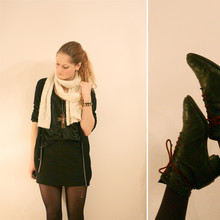 Renée Sturme - H&M Scarf, Gift Cross, H&M Semi Metallic Top, H&M Skirt, Strellson Mens Cardigan, Vintage Shoes - The snake