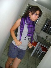 Camila Ferreira - Purple Scarf, Grey Shirt - Stop crying your heart out