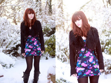 Heather Louise - New Look Military Jacket, Asos Floral Dress, H&M Fur Collar, Topshop Boots - Jack Frost