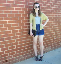 Maddison K - Groove Round Black Sunglasses, Haneli Gold Cardigan, Cotton On Grey Shirt, Now Denim High Waisted Shorts, Markets Black Clutch, Expression Black Gold Zipper Heels - I just want to see you laugh not cry