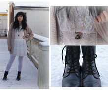 Scarlett Sometimes - Topshop White Lace Tea Dress, Topshop Over Sized Cardigan, Ebay White Tights, Asos Telephone Necklace, Ebay Worker Boots - White