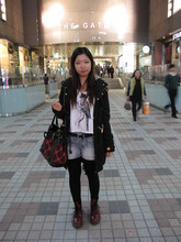 Fumiko Chan - Coat, Cotton On Shirt, Jeans, Bag, Dr. Martens Boots - Show Me Your Teeth TEETH TEETH TEETH