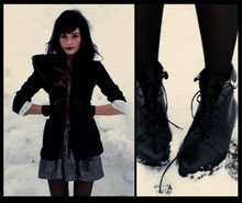 Casey Potter - Vintage Mink, Vintage Gloves, Skirt, Forever 21 Booties - Life seems but a quick succession of busy nothings