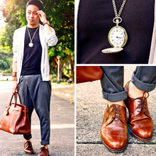 Dennis Robles - Diego Grey Cardigan, H&M Black Shirt, Zara Grey Asymmetrical Harem Pants, Goodyear Perforated Laceups, Hermës Birkin 40cm Havanne, Topman Clock Pendant - Your time is up! bang!