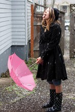Taylor B - Beret, Dress Coat, Rain Boots With White Whales, Polkadot Umbrella, Old Jeans - Apparently snow isn't the same as rain