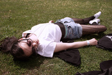 Felicia Hansson - H&M Sunglasses, American Apparel Crop T Shirt, American Apparel Micro Mesh Bodysuit, Levi's® Shorts, Primark Tights, Primark Shoes - Wherever you are, I am sunshine