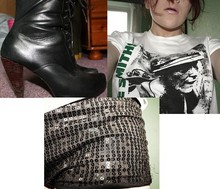 Kirsty Bruno - New Look Black Boots, The Smiths   Meat Is Murder, Topshop Sequin Hotpants - Meat is murder.