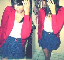 Sofia Janet - American Eagle Polka Dots Skirt, Zara Red Cardigan, Forever 21 Heart Necklace - Nautica, my way!...