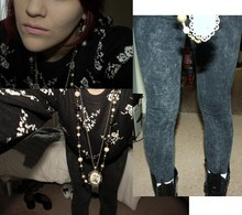 Kirsty Bruno - Internationale Tie Dye Leggings, Vintage Floral Print Jumper, Topshop Vintage Flower Pendant, New Look Pearl, Bead Pendant - Its not me, its you.