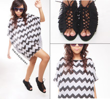 Pat Dela torre - Theory Zigzag Top, Thrifted Black Fringe, Topshop Blue Vintage Sunnies - People See me for 2 Seconds