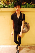 Chi Kotur - Mono Safety Pins Necklace, Diy Sleeveless Coat, Zara Skinnies, Zara Patent Shoes - Noir