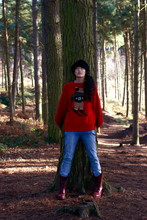Ayesha TAN J - Auntie's Furry Hat., Ralph Lauren Christmas Jumper!, Urban Outfitters Acid Wash Jeans, Dr. Martens Red Docs - Tree people.