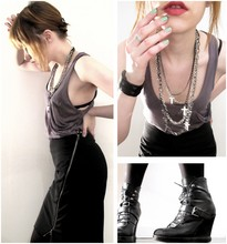 Meg C - A.Ok Pocket Tank, Yigal Azrouel Diagonal Zip Skirt, Surface To Air Wedge Boots - As the world falls down