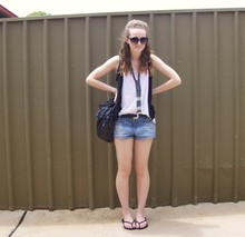 Maddison K - Havaianas Black Thongs, Groove Round Black Sunglasses, Jay Jays Black Vest, Diva Beaded Necklace, Sportsgirl Black Handbag, Op Shop Black Belt With Silver Buckle, Just Denim Shorts - But I just hate to say goodbye