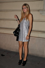 Chiara Ferragni - Silver Dress, Black Ankle Boots - The silver dress