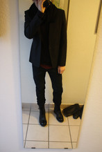 David ****** - H&M Scarf, H&M Pullover, Raf Simons Jacket, Helmut Lang Longsleeve, Helmut Lang Jeans, Cos Boots - Birth d a y -   p ar t  y