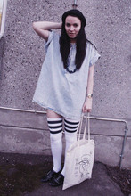 Felicia Hansson - H&M Hat, Second Hand Dress, American Apparel Tigh High Socks, Next Shoes, Mr Ro Clothing Bag - Good afternoon poppet,