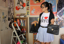Jessica Tran - Cotton On Cardigan, Thrifted/Secondhand I Heart Ny Shirt, Thrifted/Secondhand Black Gold Hardware Stachel, Thrifted Children's Dress Turned Skirt, Kmart Fakey Docs - Fakey McFake