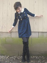 Lauren Winter - Thrifted Blue And Gold Military Dress, Kimchi Blue Black Suede Over The Knee Boots, Forever 21 Gold Heart Locket - Military doll