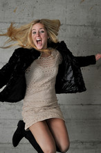 Chiara Ferragni - H&M Faux Fur Coat, Zara Cropped Dress, Over The Knee Black Boots - Jump around