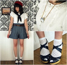 Maria C. - Corvus Noir Scotch Necklace, Modcloth White Blouse, Urband Outfitters Pointelle Socks, Seychelles Navy Platforms, Forever 21 Chambray High Waist Shorts, Brooks Brothers Vintage Polka Dot Scarf, Thrifted Vintage Red Beret - Spring Wishes