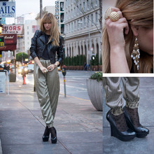 Liz Sampson - American Apparel Trousers, Bebe Shoes, H&M Leather Jacket, Nasty Gal Rings - Linear Solutions