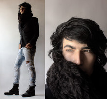 Andres Espinosa - Zara Jacket, Diy Pants, Army Boots, Local Store. Fur Scarf - Jean-ius!