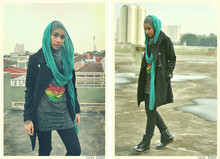 Yuna Zarai - H&M Black Trenchcoat, Forever 21 Scarf, Cotton On Skirt, The Doors Vintage Tee, Dr. Martens Dr Marten Boots - Empty parking lot.