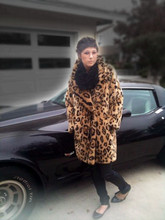 Whitney Fierce - Wrap Scarf, Leopard Coat, Leather Pants, Pointed Ballet Flats - Fast cars, leather pants, and leopard.