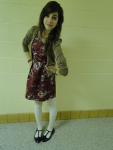 Sarah Dickenson - Express Light Brown Cardigan, Charlotte Russe Maroon Floral Silk Dress, Charlotte Russe Black Mary Janes, Target Cream Cabled Tights, Garage Sale Bronze Pearls - Your face is a mess.