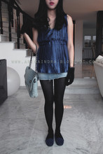 Arika Indra - Guess? Blue Dress, Zara Blue Jeans Purse, Zara Black Glove, Zara Mini Jeans Skirt, Esprit Blue Flats - I got it from my sister