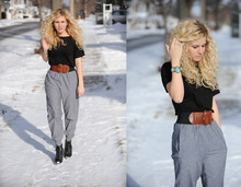 Andrea K. - American Apparel Chambray Jumper Pants, Alexander Wang Tee, Ecote Belt, Deena And Ozzy Boots - Light sensitivity