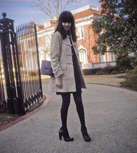 Rhiannon Leifheit - Vintage Duffle Coat, Brooks Brothers Bag, Rosegold Shoes, Thrift Store '70s Dress - Sunday afternoon walks