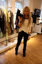 Sara V - H&M Boots, 2hand Shirt, Lindex Leather Pants - Garden Collection