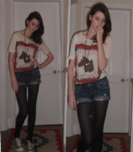 Buggy Shepherd-Barron - Urban Outfitters Horse Top, Abercrombie & Fitch Denim Shorts - Natural's Not In It