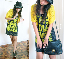 Pat Dela torre - Thrifted Studded Bag, Thrifted Painted Graphic Tee, Thrifted Black Strapped Wedge, Thrifted Yellow Ploy Blazer, Diy Chainned Silver Tunnel Necklace - Make Love Make Peace
