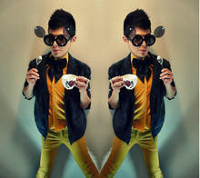 "Julio Cesar - ""Mickey"" Glasses, Kostym Bowtie, Greyhound Mohair Jacket, Vintage Yellow Shirt, American Apparel Yellow Jeans - Baby, You'll Be Famous"