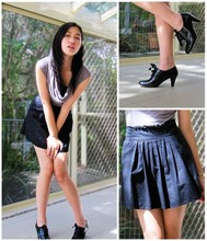 Michelle Louissant - Boutique Derby Heels, H&M Draped Shirt, Diy High Waisted Skirt - Derby darling