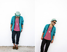 Felipe Rosado - H&M Gold/Tennis Necklace, Ray Ban Aviators, H&M Blue/Green Fedora, H&M Blue Cardigan, H&M Wide Neck Tee, Urban Outfitters Brown Slippers - Je suis bleu