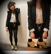 Jojo Jo - Camper Heels, Topshop Long Necklace, Topshop Power Shoulder Jacket, H&M Blouse - Unexplainable obsession - Chapter 3.3 : Power Shoulder Jacket X Pearls