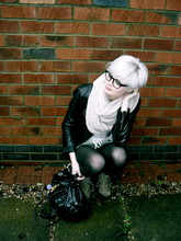 Kat At. - Geek Glasses, Topshop Snood, Leather Jacket, Paul's Boutique London Ltd. Sexy Bag, Wedges - When the going gets tough, the tough go shopping.