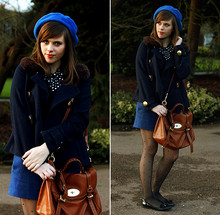Carrie H - Mulberry Alexa, H&M Fur Collared Jacket, H&M Blue Miniskirt, Asos - The Blues