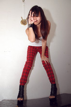 Jeannie Lee - Dotti Tank Top, Plaid Pants, Tony Bianco Booties - Every girl has a cat in her