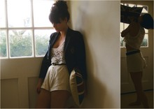 Hannah Lamb - H&M Kids Blazer, Topshop Lace Crop Top, All Saints Safari Type Shorts, Unknown Brown Belt - Looking out the window desperately for inspiration.