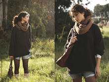 Hila Bouskela - Brown Scarf, Brown Bag - Fairytale