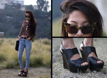 Christine L. - Alexander Wang Tortoise, Marni Strappy Wedges, Levi's® Mom Jeans, Leopard Shoulder Top - Christeric leopard