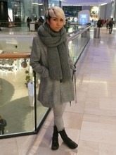 Ub-ib Indradat - Zara Knitted Scarf, Silence + Noise Checked Coat, Topshop Grey Skinny Jeans, H By Hudsons Combat Boots - My Grey Day
